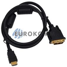 Кабель (шнур) переходник HDMI - DVI-D (gold, черный, 1м)